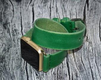 Green Apple watch strap // double wrap apple watch band 42mm leather - iwatch strap - iwatch band 38mm - lugs adapter accessories for women