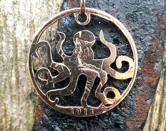 Octopus Cut Coin Keychain or Necklace