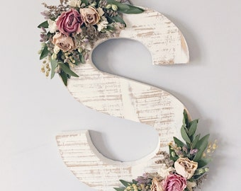 Dried Wildflower Wooden Letter S | Floral Letter | Wooden Letter | Shabby Chic | Boho | Nursery Decor | Botanical Art | Woodland Theme | Bab