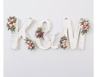 Set of 3 Dried Wildflower Wooden Letters | Floral Letter | Wooden Letter | Shabby Chic | Boho | Bridal Shower | Bridesmaid Gift