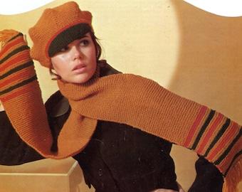 Vintage British Invasion Newsboy Cap & Scarf Knitting Pattern PDF Instant Download