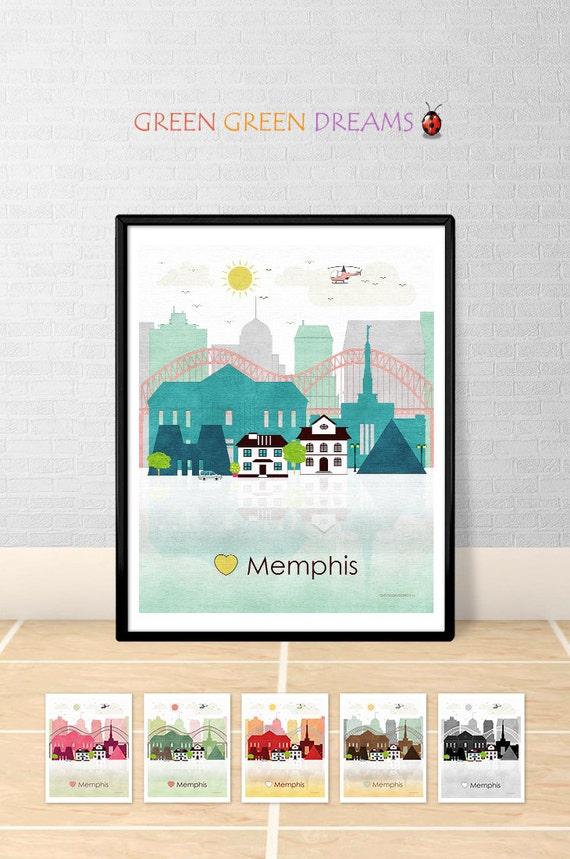 Memphis Print Poster Wall Art Memphis Tennessee Memphis