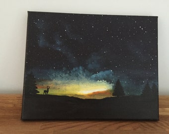 Stag Silhouette Painting