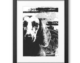 Dachshund art print, Dog Print Gift Idea, Modern Dog Art Print, Black White Wall Decor, Dachshund print, Pet portrait, dog art
