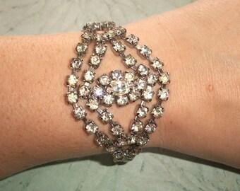 "Vintage Clear glass Rhinestone Bracelet,silver tone,7.25"" long by 1.5"" wide,wedding jewelry"