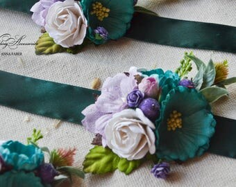 Wedding corsage, Turquoise and lilac flower corsage flower bracelet wedding bracelet  flowergirl corsage bridesmaids bracelets paper flower
