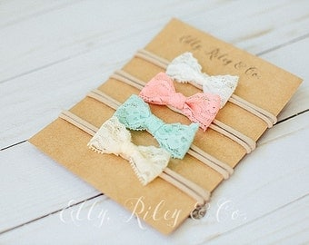 Petite Lacy Bow - Newborn Bows, Baby Bows, Baby Headband