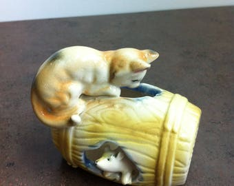Vinatage Cat and Mouse - Cat on a Barrel Ornament - Mouse in a Barrel Figurine - Gift for the Collector