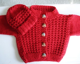 6-9 Month Infant Baby Cardigan Sweater and Hat - Fire Engine Red