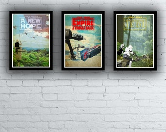 Star Wars Trilogy Film / Movie Posters / Prints Set Episodes 1 2 3