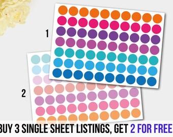 Dot  Planner Sticker Set in Pastels and Bright Colors. Erin Condren Planner, Teacher Planner, Wedding Planner.