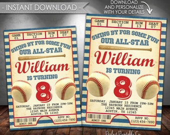 Baseball Invitation, Baseball Birthday Party Invitation, Baseball Birthday Invitation, Baseball Invite, Instant Download, Editable PDF #566