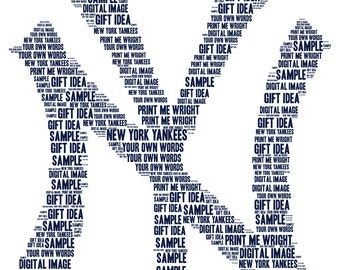 Personalised word art, resembling New York Yankees, digital image great gift for Father's Day, birthday, baseball fan gift