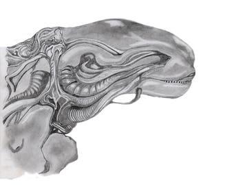 Alien Print, Science Fiction Drawing, SciFi Art