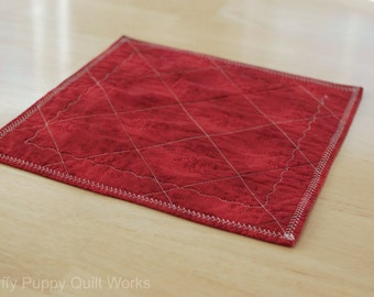 Quilted Table Topper, Quilted Candle Mat, Red Table Topper, Valentines Day,  Holiday, Rustic Red Decor, Red Table Decor