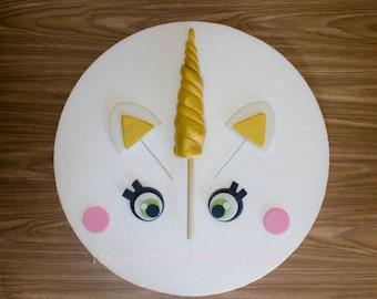 Unicorn Horn Cake Topper Set, Unicorn Horn, Ears, Eyes, and Rosy Cheeks