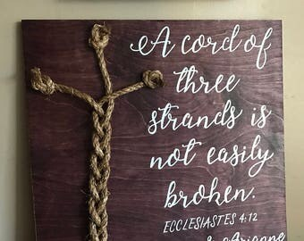 A cord of three strands is not easily broken, rustic wedding sign, God's knot sign, personalized wedding sign, wedding decor, wood sign