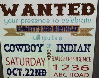 Cowboys and Indians Invitation