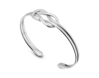 Knot Bracelet, Bangle Cuff bracelet, knot Silver cuff, Sterling silver bracelet, Wedding, Friendship, Mother's Day gifts, Silver Bracelet