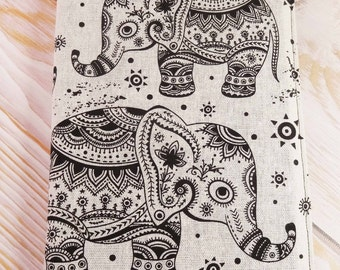 Note book Cover, Elephant, Journal Cover, Book Accessorie, Black and White, A5 Ruled Journal, Hand Made, Cotton