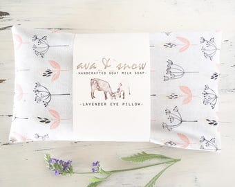 Lavender Eye Pillows, Soothing Lavender Aromatherapy Pillows, Soft Floral Print Cotton Fabric
