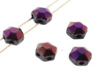 Honeycomb Jewel Brown Flare 2-Hole Czech Glass Beads 6mm, qty 30 beads