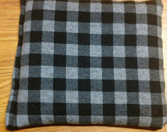 "Corn Heating Bag- Black Grey Small Plaid-  Heating Pad- Ice Pack- Microwavable - Freezable- Approx 8"" x 10"""