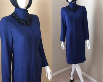 SALE! 90's Purple Dress Fitted Dress Bold Purple Shirt Dress Long Sleeves Elegant Business Dress Women's Size 6 Small