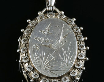 Antique Victorian Silver Locket - Dated 1884
