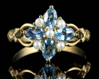 Blue Topaz and Pearl Ring 18ct Gold on Silver