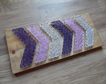 Chevron string art, chevron wall art, chevron wall decor, string art chevron, purple chevron string art, string art chevron art, chevron art