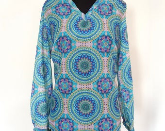 Cotton and silk blouse with printed design