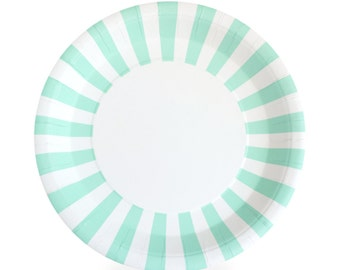 "Plates | 9"" Mint Striped Paper Plates 