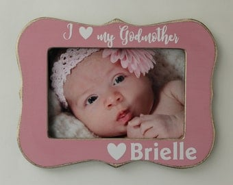 godmother frame personalized baptism picture frame godmother gift rose pink photo frame 4x6 picture frame