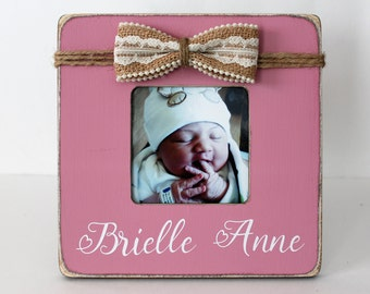 New Baby Girl Gift, Personalized Picture Frame, Baby Girl Photo Frame, Gender Reveal Gift
