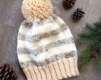 """Women's Knit Beanie ~ Men's Winter Knit Hat with Pom Pom ~ Woodland - Rustic Knitted Hat """"THE LILBURN"""" in Fisherman, Oatmeal & Beige"""