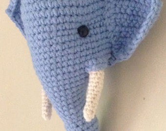 Crochet big elephant head wall mount trophy blue color