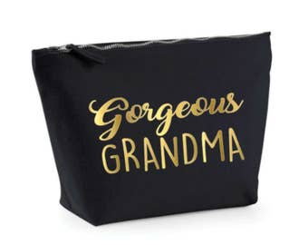 Grandma Gift, Personalized Make Up Bag, Black Gold Cosmetic Bag, Gorgeous Grandma Gift, Make Up Case, Black and Gold, Toiletry Bag