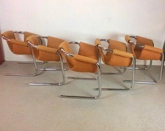 Mid Century Modern Set of 5 Tubular Chrome Sling Zermatt for VECTA Group Dining Chairs