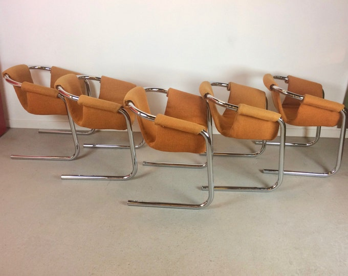 Mid Century Modern Set of 5 Tubular Chrome Sling Zermatt for VECTA Group Dining Chairs