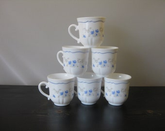 "Arcopal ""Romantique"" Teacups (Set of 6) / Arcopal French Milk Glass Teacups Blue and Yellow Flowers / Blue and White Milk Glass Teacups"