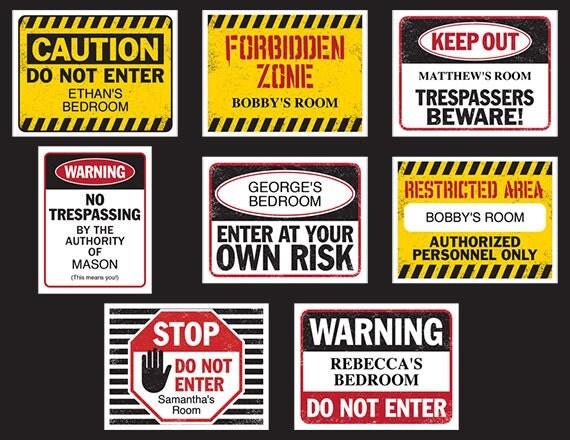 Fun Kids Bedroom Door Signs  Printable  Customizable  Digital Download  Templates  8 Different Designs  Keep Out Sign  Do Not Enter. Fun Kids Bedroom Door Signs Printable Customizable Digital