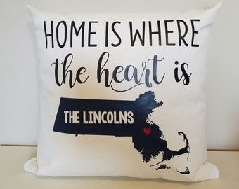 Personalized Throw Pillow - MA Home Is Where Your Heart Is - Choose Any State - Perfect For Housewarming Gifts, Weddings, Anniversary