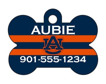 Auburn Tigers Pet Id Tag for Dogs and Cats Personalized w/ Name & Number