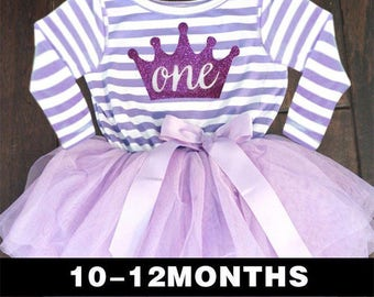 Baby Girl Crown Baptism Dress, 1st Birthday Baby, Baby Christening Clothes,  Purple Toddler Baby Holiday outfit, 2nd Bityhday Outfit