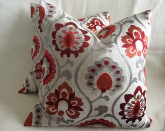 Embroidered Linen Designer Pillow Covers - Suzani Pattern - Gray/ Purple/ Red - 2pc Set - 18x18 Covers
