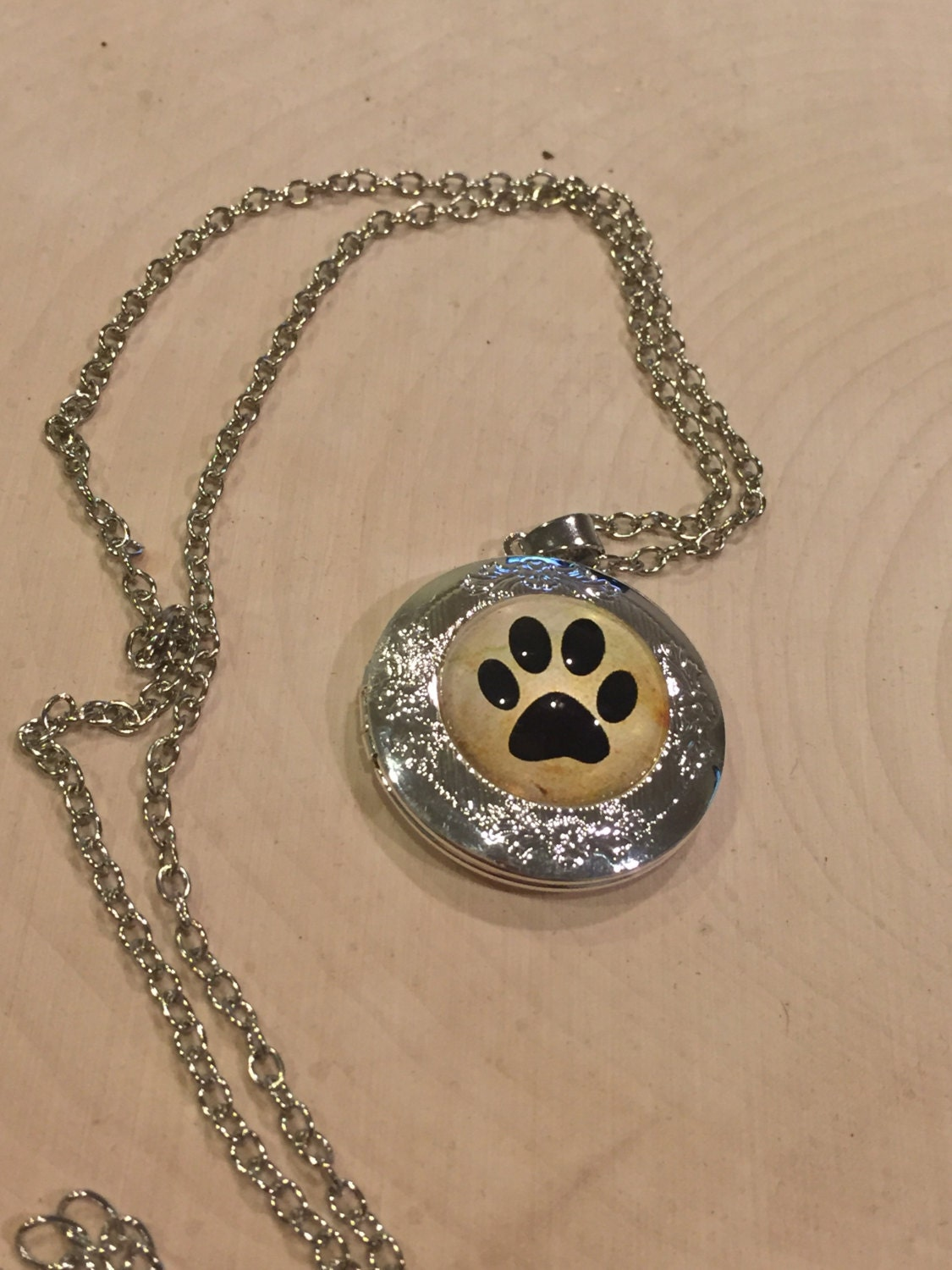 Silver Paw Cavachons: Dog Locket Necklace Silver Color Paw Print