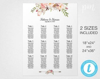 Floral Wedding Seating Chart Template, Wedding Seating Plan, Printable Seating Chart, Wedding Seating Chart Sign DIY Seating Chart Printable