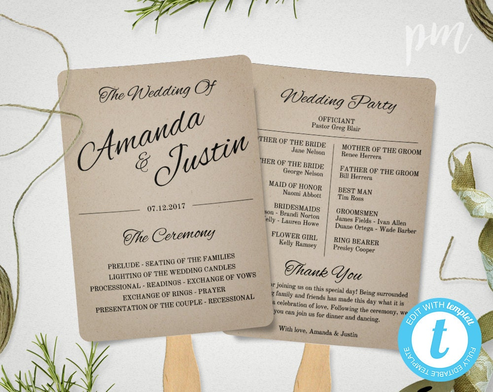 Rustic wedding program fan template fan wedding program for Rustic wedding program fans