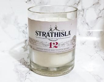 Upcycled Strathisla Whisky Bottle Candle